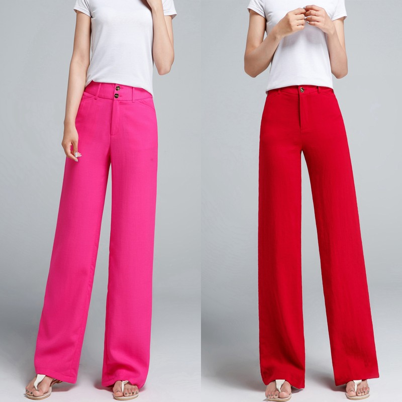 Summer new Female high waist Straight   pants   breathable cotton and linen casual   pants     wide     leg   trousers women   wide     leg     pants