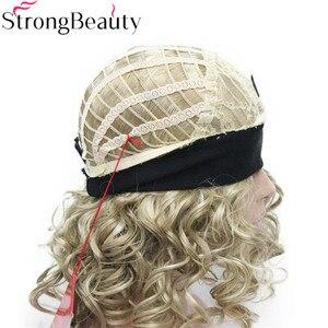 Image 4 - StrongBeauty Kurze Lockige Synthetische Perücken mit Stirnband Frauen Blau/Grau/Schwarz/Rot/Blonde/Braun Perücken 3/4 halbe Perücke für Dame