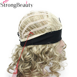 Image 4 - StrongBeauty Short Curly Synthetic Wigs with Headband Women Blue/Gray/Black/Red/Blonde/Brown Wigs 3/4 Half Wig for Lady