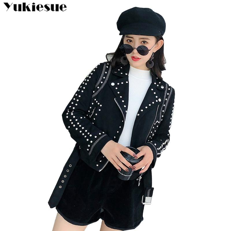 women faux PU   leather   short motorcycle female jacket for women zipper rivet sexy punk coat ladies casual women's outwear tops