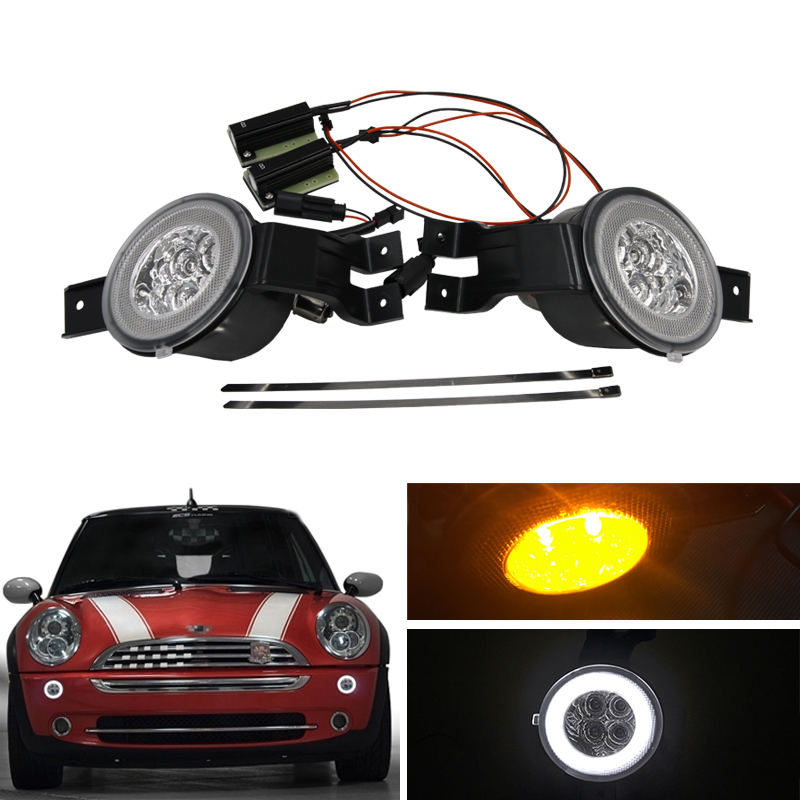 E4 R87 Clear Lens Full Led DRL Halo Amber Turn Signal Light Assembly KIts For Mini Cooper Convertible R50 R52 R53 Car-Styling