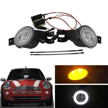 E4 R87 Clear Lens Full Led DRL Halo Amber Turn Signal Light Assembly KIts For Mini Cooper Convertible R50 R52 R53 Car-Styling - DISCOUNT ITEM  10% OFF All Category