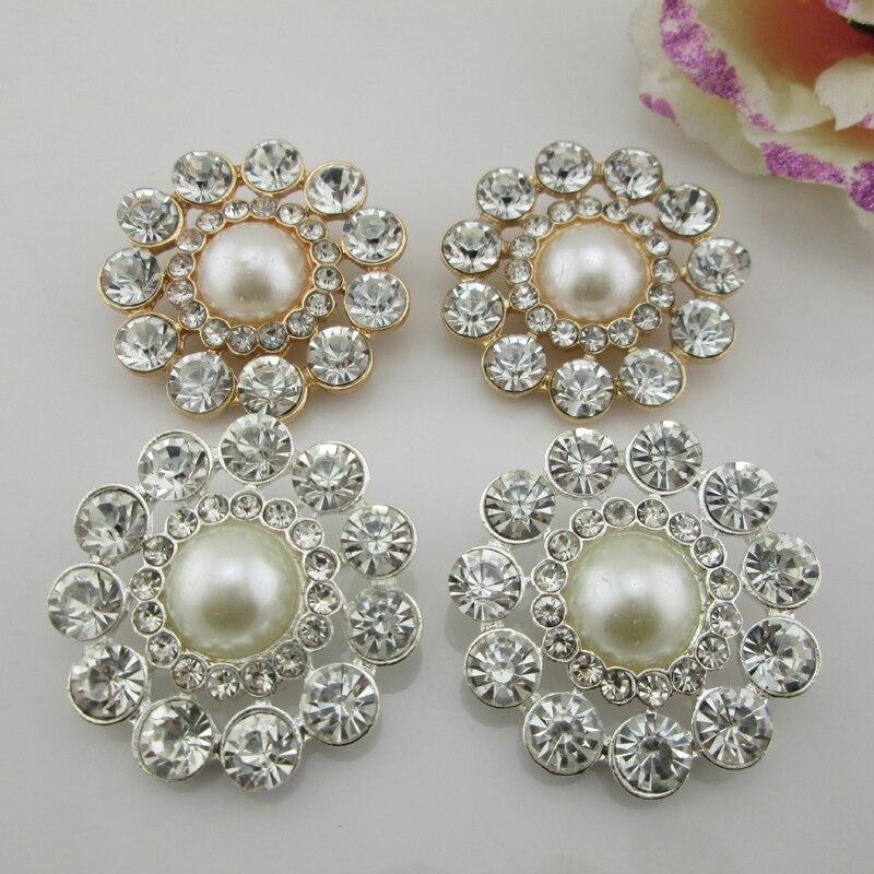 10 Cristallo Oro Perla Fiore Flatback sew bottone decorazioni matrimonio artigianale
