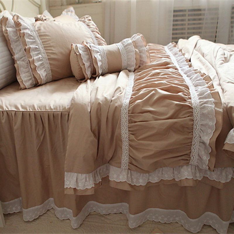New embroidery ruffle lace bedding set luxury princess bedding satin drill cotton duvet cover elegant bedspread