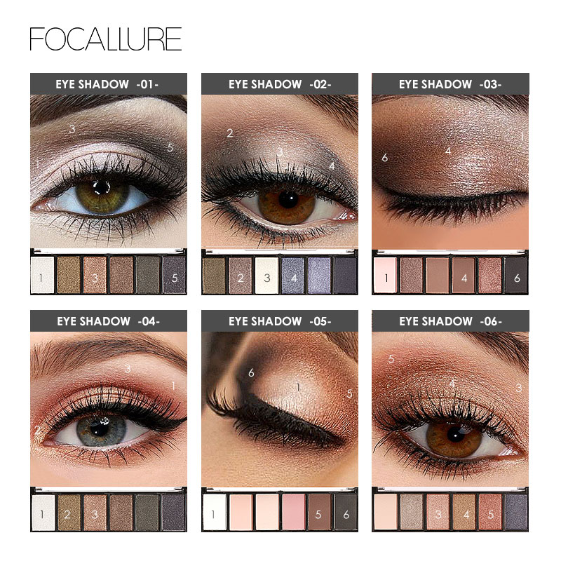 FOCALLURE 6 Colors Eye Shadow Makeup Shimmer Matte Eyeshadow Earth Color Eyeshadow Palette Cosmetic Makeup Set Nude Eye Shadow 2