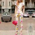 2 шт. комплект женщин 2016 весной темперамент сатинировки печать костюмы с коротким рукавом урожай лучших и тонкий брюки устанавливает высокое - конец дамы костюмы