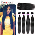 Brazilian Virgin Hair Straight 3 Bundles With Closure Cynosure Hair Bundles Silk Base Closure Unprocessed Virgin Brazilian Hair