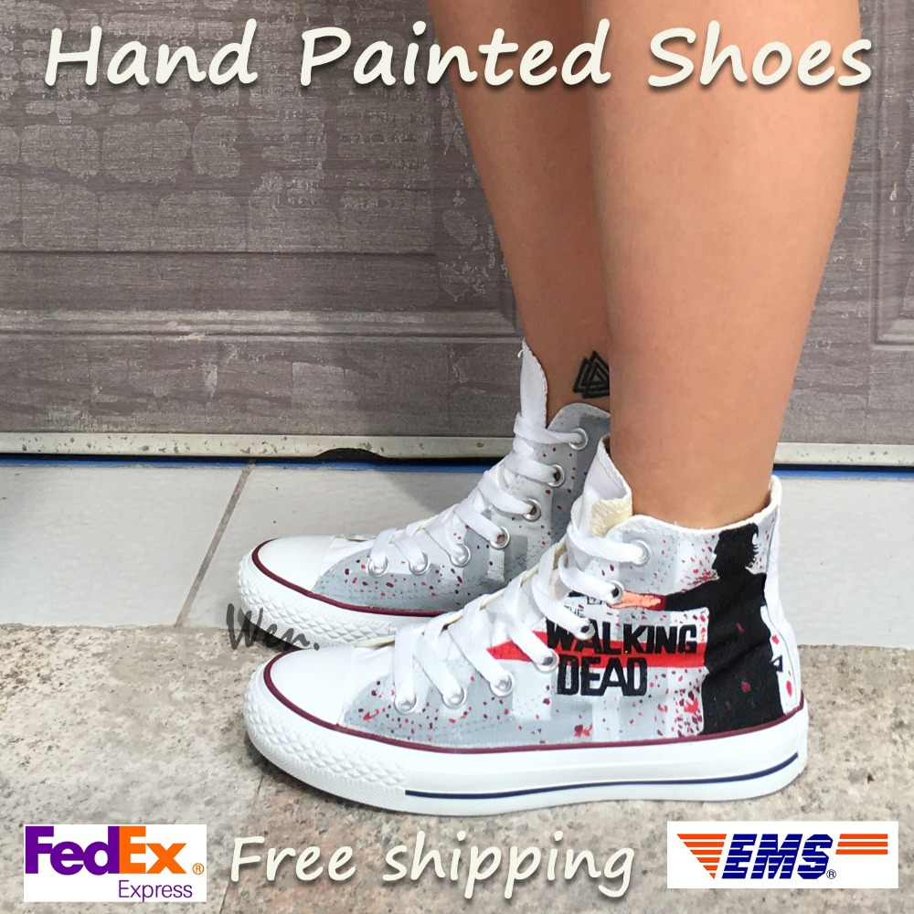 0a4af678ff89 Wen Grey Hand Painted Shoes Design Custom Walking Dead Boys Girls Gifts High  Top Men Women s Canvas Sneakers