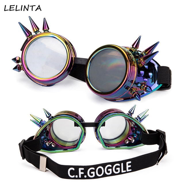 a025c0adb56 LELINTA Spiked Retro Vintage Rivet Steampunk Goggles Glasses Welding Punk  Gothic Cosplay Clear Lenses Party Glass