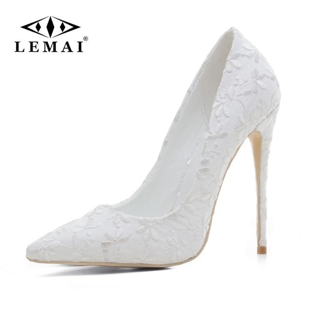 6eadedf27 LEMAI 2018 New High-heeled Shoes Women Pumps Wedding Shoes Fashion Sexy  Women Shoes Classic White High Heels