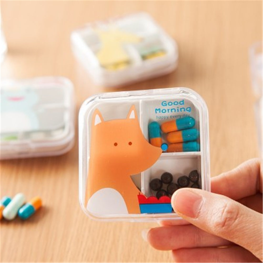 Nice Portable Mini Cartoon Plastic Pill Box Medicine Case For Healthy Care Empty Drugs Box For False Eyelashes