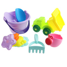 10 Pieces Kids Beach Sand Toy Set Sandbox Castle Molds Children's Gift Water Can, Bucket, Sand Shovel, Rake, Car and Mold Kits(China)