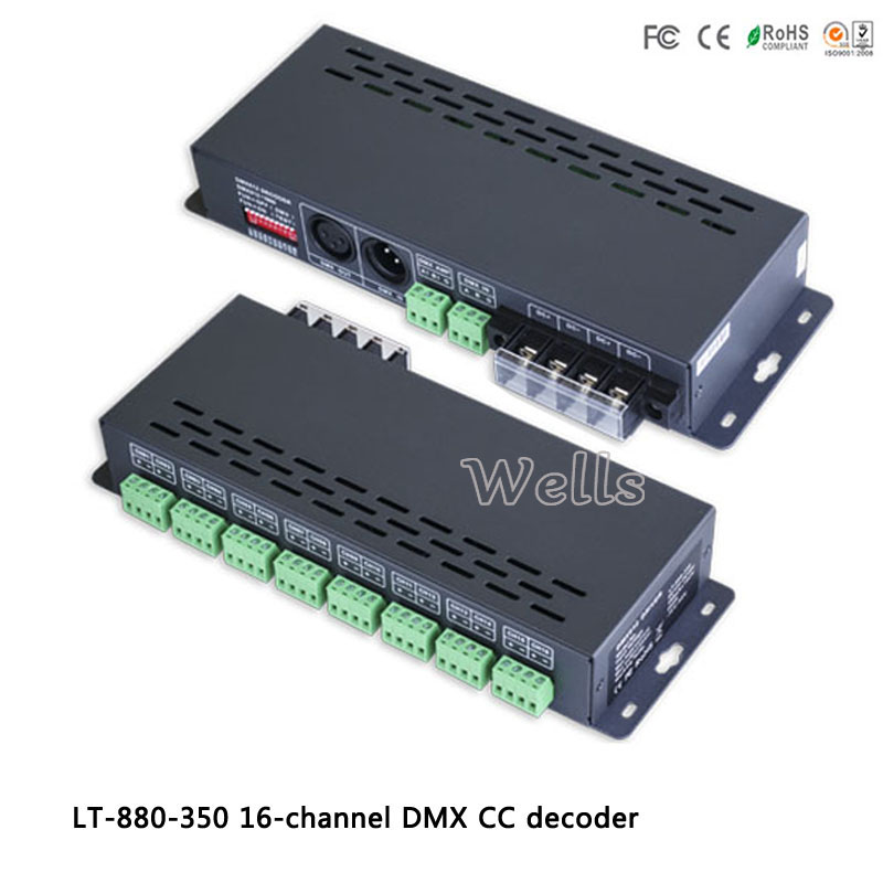 led 16CH DMX-PWM constant current decoder driver;DC12-48V input;350ma*16CH output LT-880-350 for led strip lights
