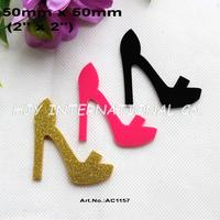 (3colors, 24pcs/lot) 50mm Acrylic  High Heel Shoes Gold Glitter, Dark Pink, Black Cutout Ornaments 2 inches -AC1157