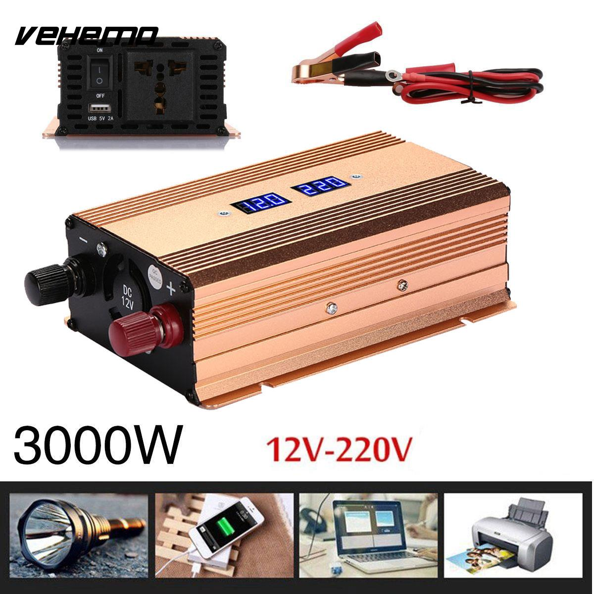 Car Inverter 3000W Solar Power Inverter DC 12V to AC 220V Truck Converter Voltage Transformer Vehicle Pure Sine Wave LCD screen 3000w car vehicle power inverter pure sine wave 12v dc to 220v ac transmitter transformer power supply inverter