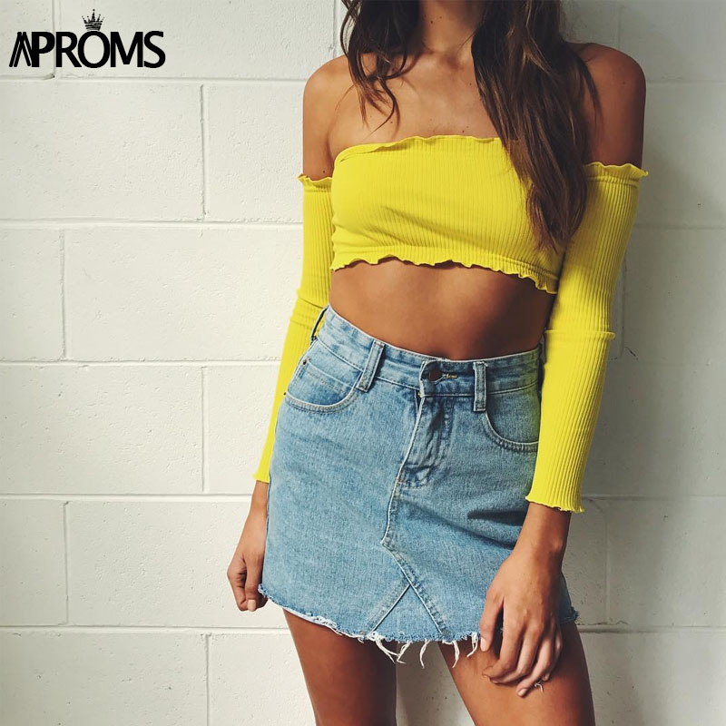 Aproms Yellow Off Shoulder Ruffles   Tank     Top   Women Short Tees T-shirt Sexy Elastic Camisole Crop   Top   Casual 90s Cool Party   Tops