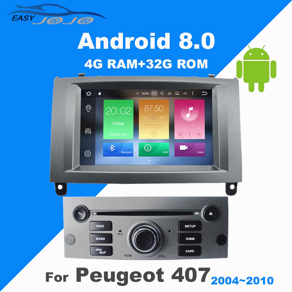 4G RAM Android8.0 Car DVD GPS Multimedia Player For Peugeot 407 2004 2005 2006 2007 2008 2009 2010 Auto radio Navigation Stereo ...