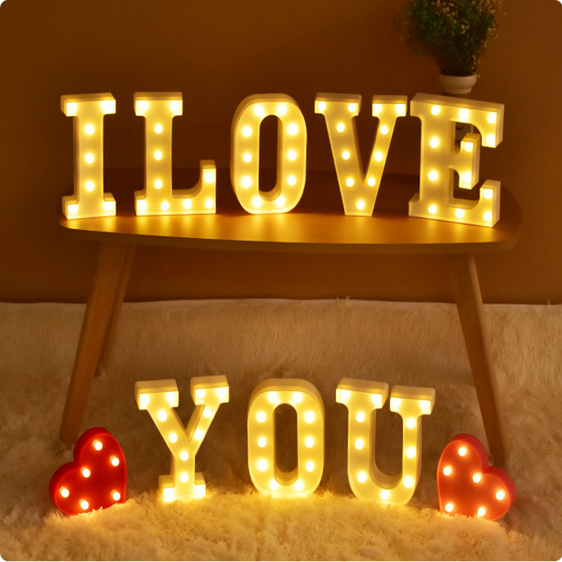 LMID led night light for children love decorative letters Marquee Sign Alphabet night lamp heart christmas bedroom garten home