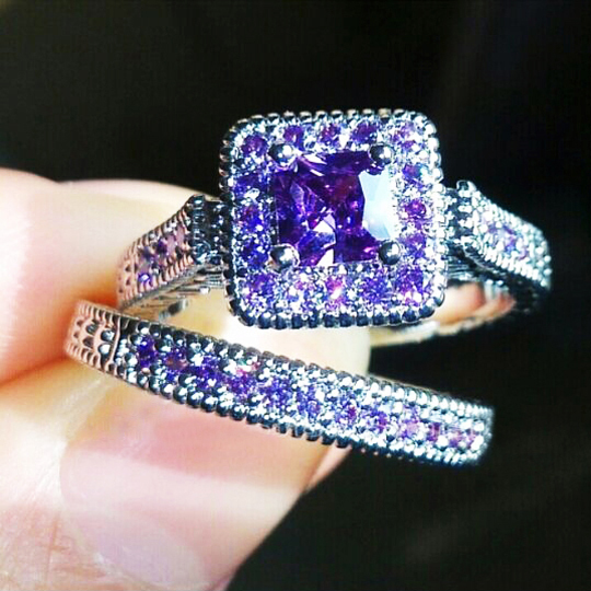 2PCS Size 6 9 Bohemia Fashion 14k White Gold Filled Purple CZ Diamond  Wedding Rings