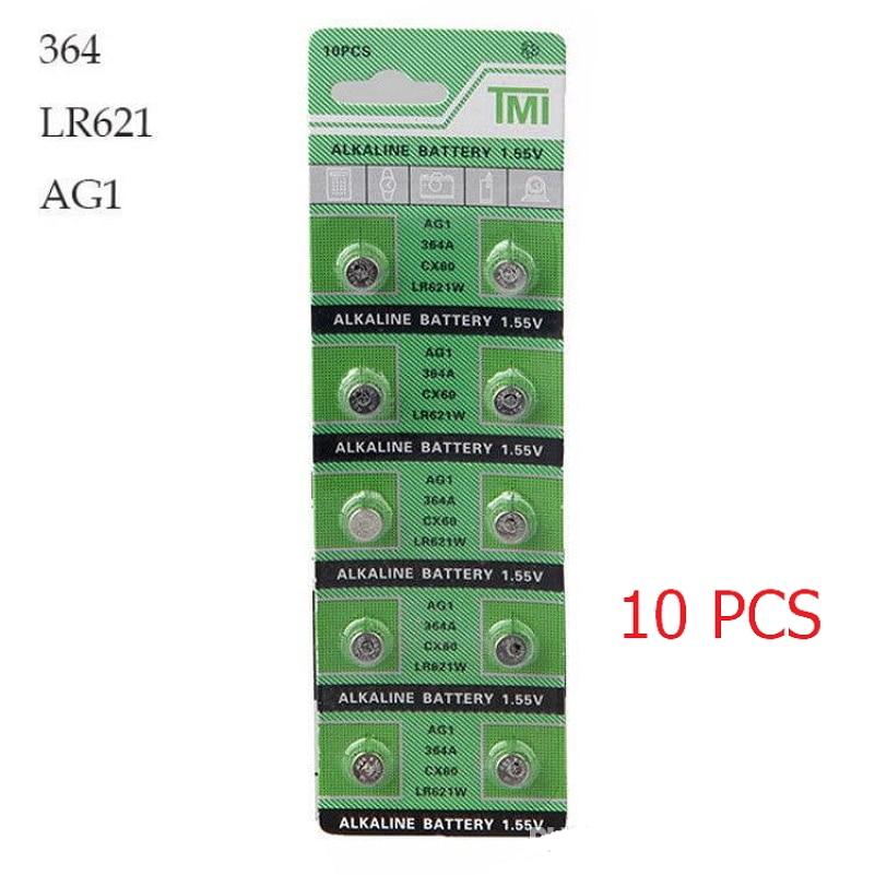 10 PCS Watch Battery 364A 621 AG1 1 55V LR621W Alkaline Watch Accessories font b Electronic