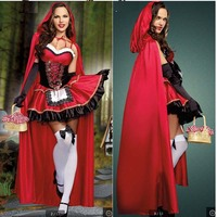 3PCS Halloween costume female sexy cosplay Little Red Riding Hood cosplay fantasy game uniform dress dress Game carnival uniform