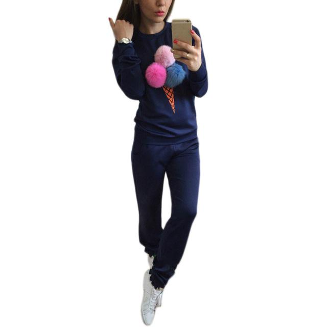 2 Unids/set Otoño Invierno Ropa de Mujer Establecido Chándal Ajustado 3 Pompones de Piel Sudaderas Con Capucha de Manga Larga Pullover Sudadera Tops + Larga Pent
