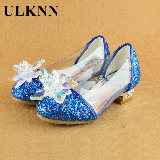 ULKNN Spring Autumn Children Party Shoes For Girls Heels With Glitter  Rhinestone Flower Leather Shoe Kids Dress Silver Blue Pink 940cf9fa4ed2