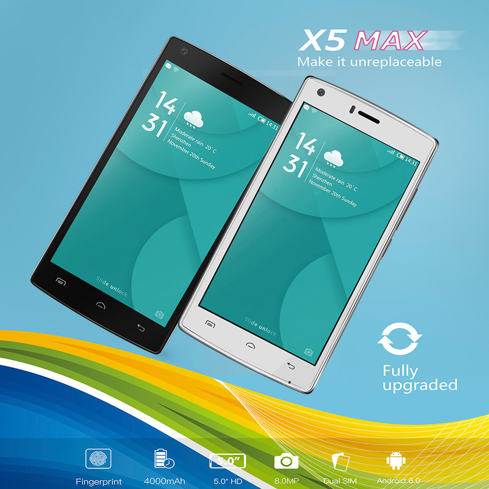 цена DOOGEE X5 MAX Cell Phone Android 6 Smartphone Unlocked 5.0 Dual Sim 8MP Camera Apr18