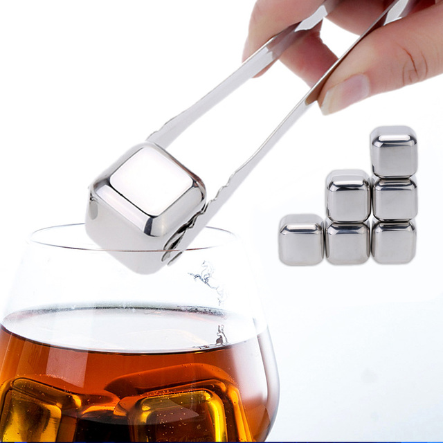 6Pcs 4Pcs Stainless Steel Cooler Set whisky stone Wine Drinks Cooling Chilling Cube with Plastic Storage Case Tongs chopeira