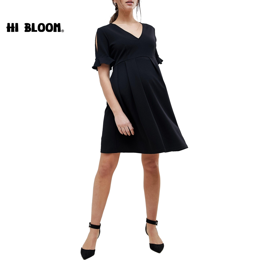 Summer Autumn Maternity Dresses Short Sleeve Dress For Pregnant Women Fashion Party Maternity Clothes Pregnancy Dresses women s side ruched maternity clothes striped bodycon dress mama summer casual short sleeve wrap dresses pregnancy clothes