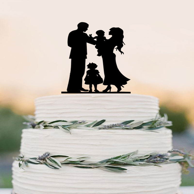 wedding cake toppers with baby boy wedding cake topper silhouette amp groom holding baby 26625