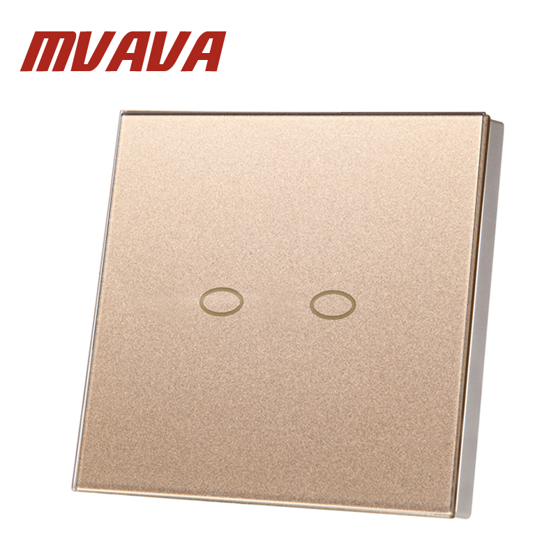 MVAVA EU/UK Standard Rose Gold Touch Switch 2 Gang 2 Way Crystal Glass Switch Panel Single FireWire touch sensing wall switch smart home uk standard crystal glass panel wireless remote control 1 gang 1 way wall touch switch screen light switch ac 220v