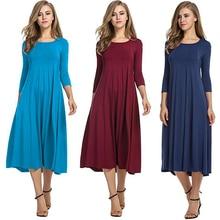 Las mujeres Vestidos de media manga de Color sólido Loose mujer vestido de primavera Casual o-Cuello elasticidad cuello elegante Vestidos de fiesta Vestidos