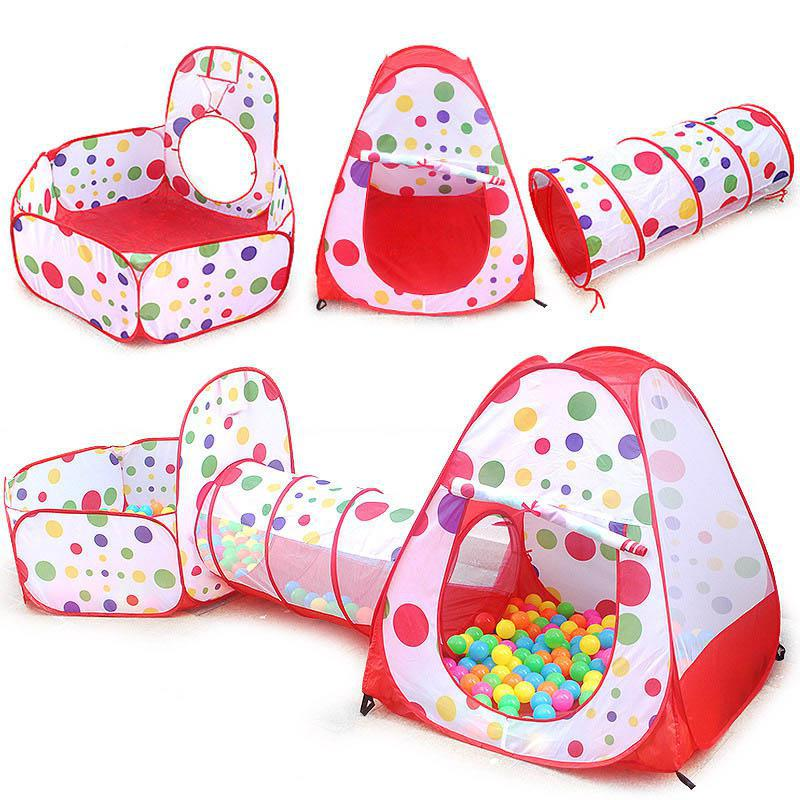 3pcs/set Foldable Play Tunnel Pop Up Play Tent 3-in-1 Indoor Outdoor Playhouse Ocean Ball Pool Games Toys For Children