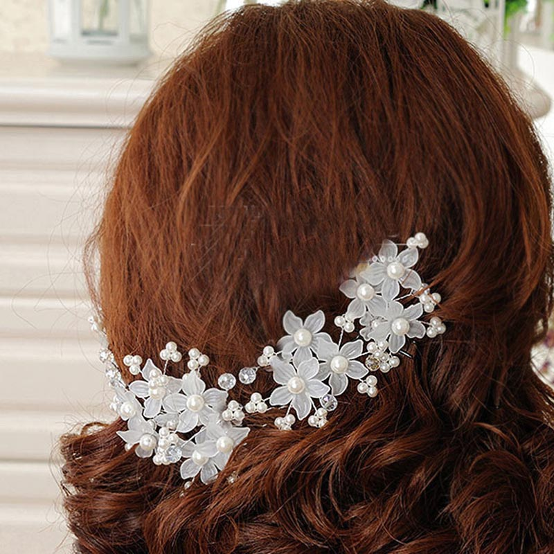 1PC Bridal Hairdisk Flower Shape Hairpin Wedding Decorations Accessories Lovely simulation Pearl Women Ladies Hair Jewelry