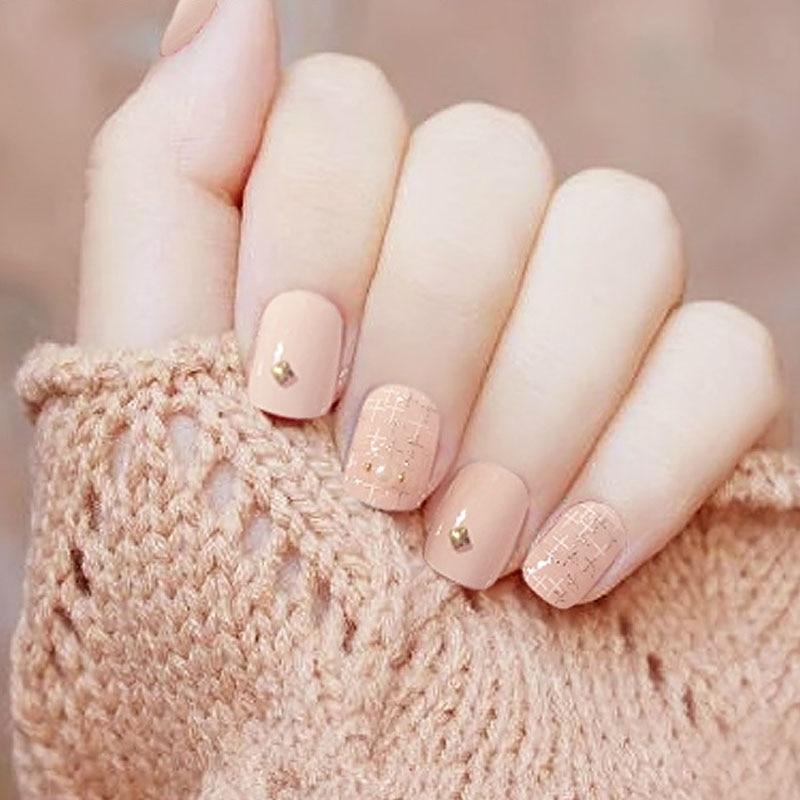 Vieschen Nude Color Fake Nail Art Decoration DIY Manicure Pink Color ...