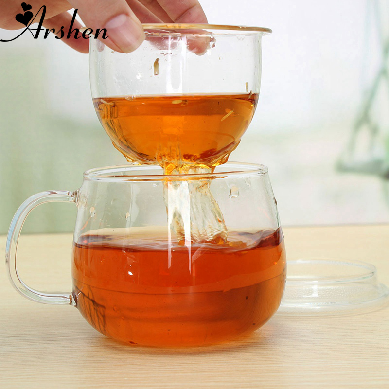 Arshen High Quality Durable 3 in 1 Set 320ml Clear Heat Resistant Tea Coffee Cup with Tea Infuser Filter Lid Use for Home Office