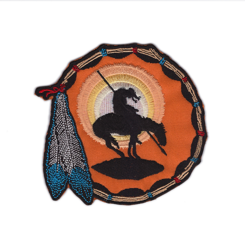 Designs END OF THE TRAIL SOUTHWEST-WESTERN- Iron On Embroidered Applique Southwest