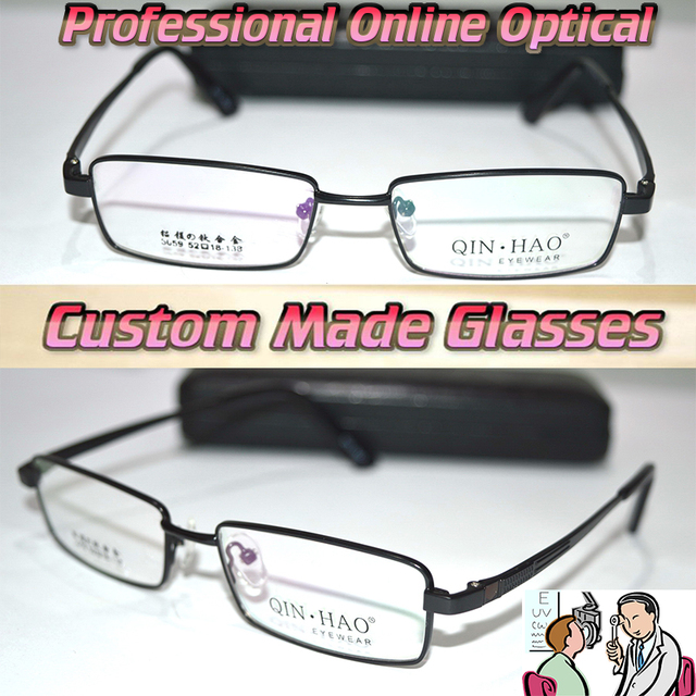 Оптическая на заказ оптические линзы титановых сплавов полный half-диска черная рамка деловых людей очки для чтения 1 + 1.5 + 2 + 2.5 + 3 + 3.5 до + 6