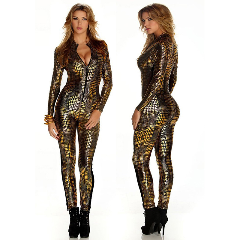 Sexy Faux Leather Snake Skin Jumpsuit For Women Vinyl Jumpsuit Gold Leather Bodysuit Spandex PVC Latex Wet Look Catsuit Women