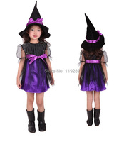 Free Shipping 2015 New Purple Cute Kids Halloween Costumes Hardcover Children Suit Gauze Female Witch Clothes