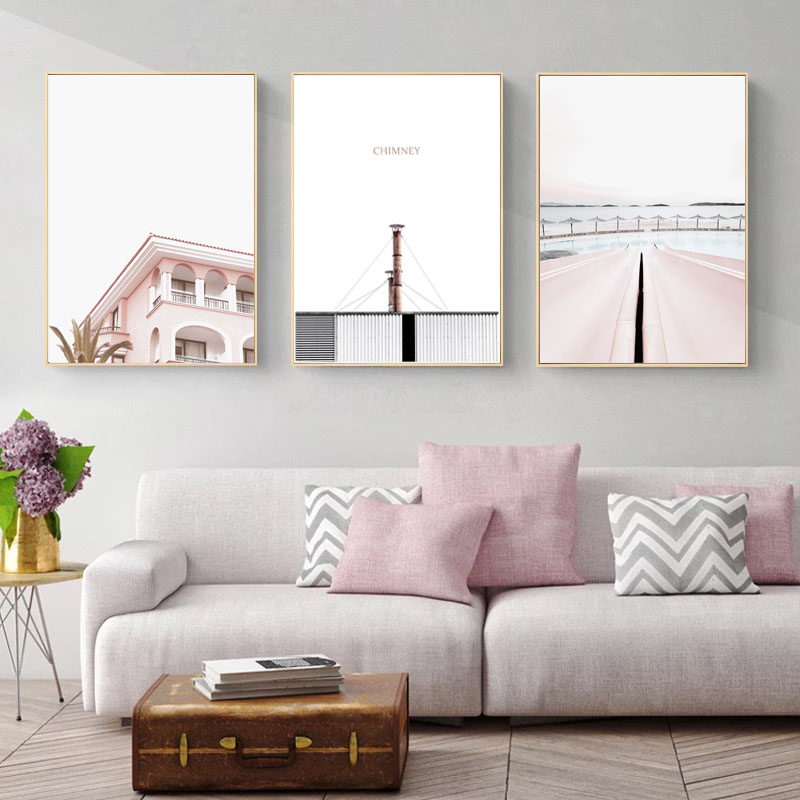Image 2 - Pink Poster Vintage Nordic Posters And Prints Chimney Wall Art Canvas Painting  For Living Room Decoration Unframed-in Painting & Calligraphy from Home & Garden