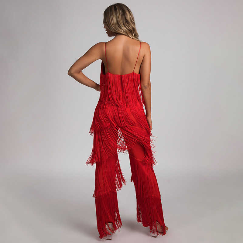3aebc7b70f6d ... NATTEMAID V Neck Backless Halter 2018 Summer Jumpsuit Bandage Casual  Sexy Club Tassel Rompers Womens Jumpsuit ...
