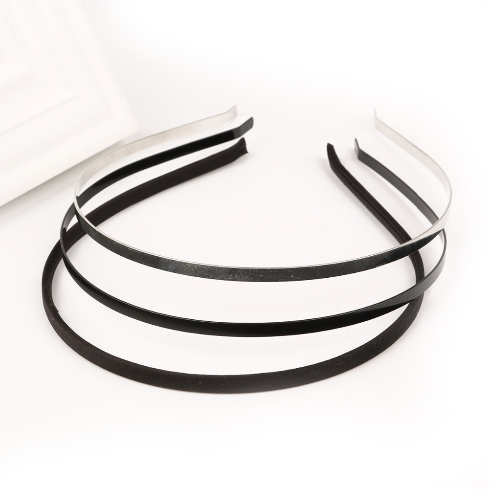 5pcs Metal Iron Based Rhodium Black Fabric Headband Hair Band Round Dull Silver Color 5mm width DIY flower Hair Accessories