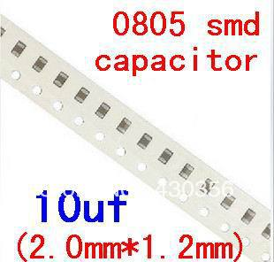0805 smd capacitor  10uF  106K      Free shipping   200pcs/lot-in Capacitors from Electronic Components & Supplies