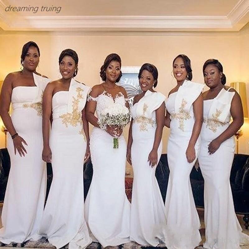 2019 White One Shoulder Long Bridesmaids Dresses Gold Appliques Plus Size Mermaid Wedding Party Gown Robe Demoiselle D'honneur