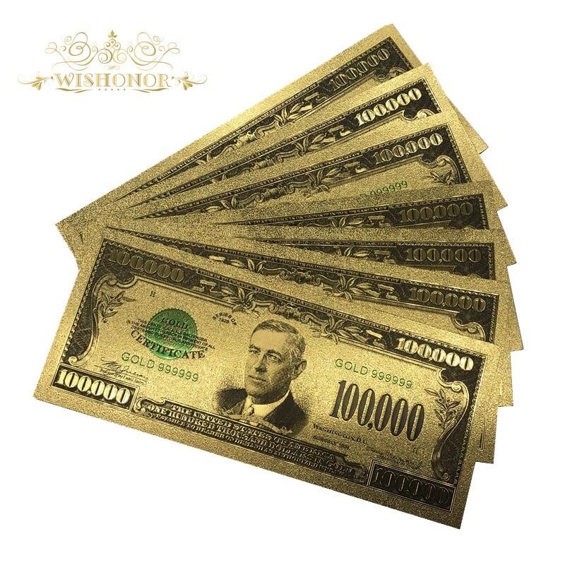 Цветные американские Золотые банкноты $100000 лучший подарок для коллекции деловой сувенир 10 шт./лот