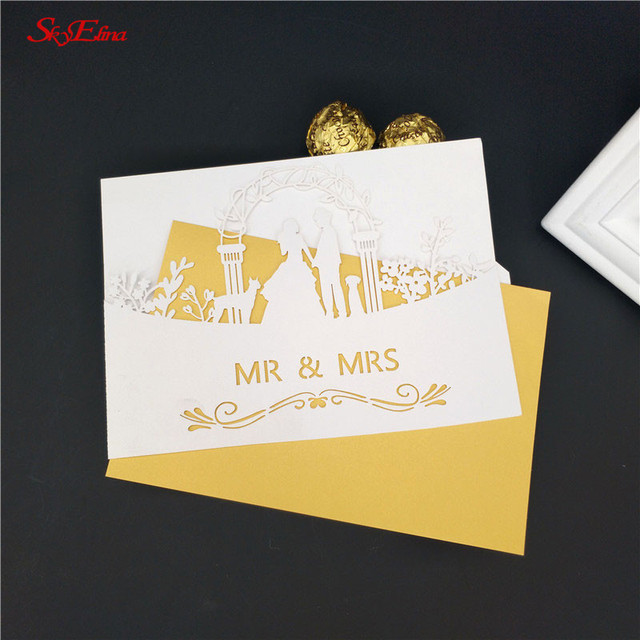 30Pcs Mr  Mrs Invitation Card For Wedding Event Supplies Laser