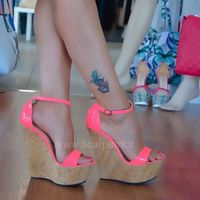 Moraima Snc Newest Fluorescent Rose Ankle Strap Platform Wedge Sandal for Woman Summer Open Toe Cutouts Shoes Gladiator Sandal