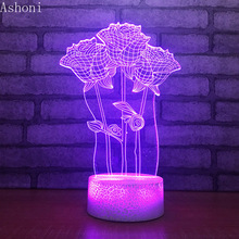 3D Rose Shape Table Lamp LED Touch 7 Color Changing Night Light Party Decorative Home Decor Kids Christmas Valentine's Day Gift valentine s day gift rose shape led touch night light